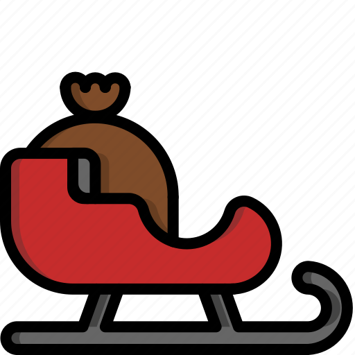 christmas, gift, present, reindeer, santa claus, sled, winter icon
