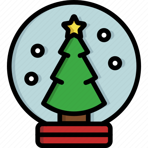 christmas, christmas tree, decoration, globe, ornament, snow, snow globe icon