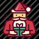 christmas, claus, santa, xmas, gift, box
