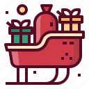 christmas, claus, gifts, santa, sledge icon