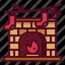 christmas, brick, fireplace, xmas, winter icon