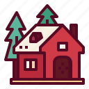 building, cabin, christmas, home, house icon