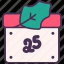 calendar, christmas, date, holiday, mistletoe, new, year icon