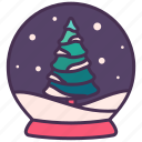 christmas, globe, holiday, new year, pine, snow, tree icon