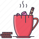 chocolate, christmas, cocoa, cup, drink, marshmallow, wafer icon
