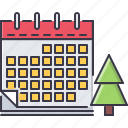 calendar, christmas, holiday, new, tree, winter, year icon