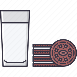 christmas, cookies, drink, food, milk, new, year icon