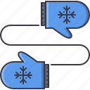 christmas, clothes, mittens, new, snowflake, winter, year icon