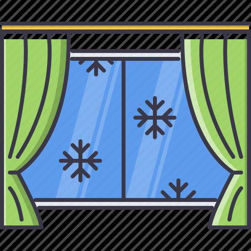 christmas, curtain, snow, snowflake, window, winter icon