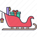 christmas, gifts, new, santa, sled, winter, year icon