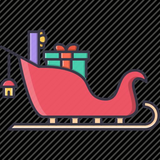 christmas, gifts, new, santa, sled, winter, year icon