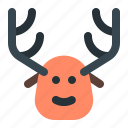 christmas, deer, rudolph, xmas icon