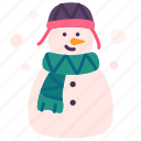 christmas, holiday, scarf, snow, snowman, winter, xmas