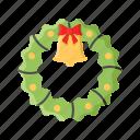 bell, christmas, decoration, door, ornament, winter