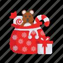bag, christmas, doll, gift, santa, toy, xmas