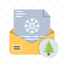 card, christmas, greetings, letter, winter, xmas icon