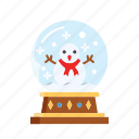 christmas, decoration, glass, globe, snowman, xmas