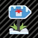 box, christmas, gift, location, signpost