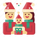 christmas, family, child, parent, people icon