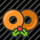 christmas, donuts, doughnuts, food, glaze doughnuts, sweets icon