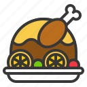 christmas, food, meat, roast chicken, turkey icon