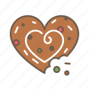 christmas, cookie, food, heart icon