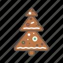 christmas, cookie, food, tree