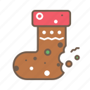 christmas food, cookie, food, socks, sweet, xmas cookie socks icon