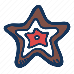 christmas, cookie, gingerbread, holidays, star, winter icon