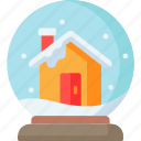 christmas, globe, home, house, snow, winter, xmas icon