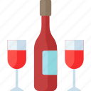 christmas, couple, drink, party, wine icon