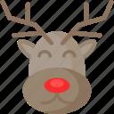animal, christmas, cute, deer, santa, xmas icon