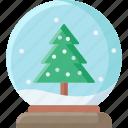 winter, globe, tree, snow, christmas, holiday, xmas