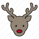 deer, holiday, reindeer, santa icon