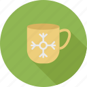 christmas, mug, snow icon