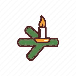 branch, burning, candle, christmas, christmas tree, decoration icon