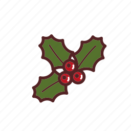 berries, branch, christmas, holly, ilex icon