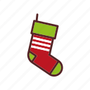 christmas, decoration, gift, sock, tradition icon
