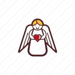 angel, christmas, decoration, heart, love icon