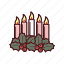 advent, candles, christmas, decoration, holly, ilex, ring icon