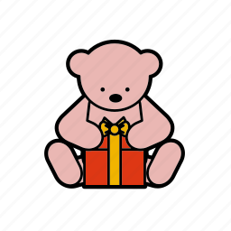 box, christmas, decoration, gift, teddybear icon