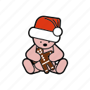 christmas, decoration, gingerbread, hat, santa, teddybear icon