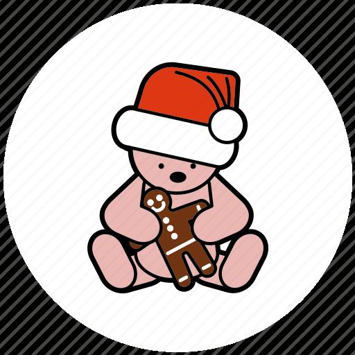 christmas, decoration, gingerbread, hat, santa, teddybear icon
