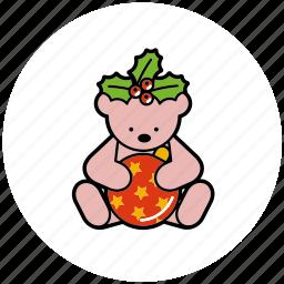 bauble, berries, christmas, decoration, holly, teddybear icon