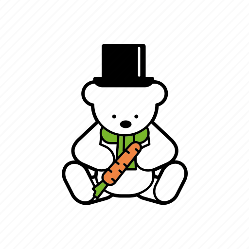 carrot, christmas, cylinder, decoration, hat, snowman, teddybear icon