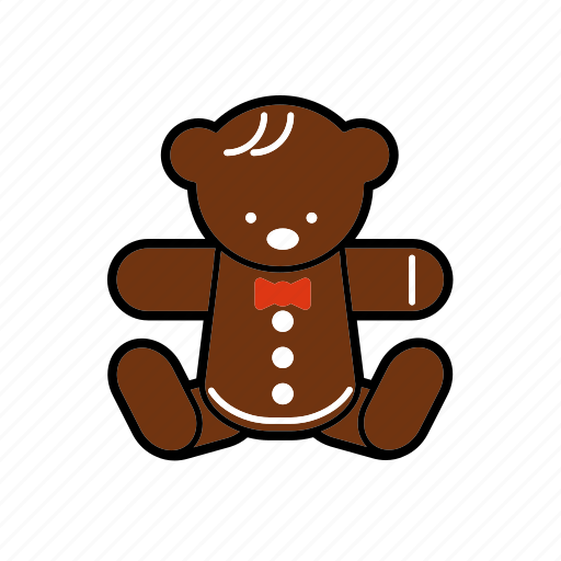christmas, decoration, gingerbread, sweet, teddybear icon