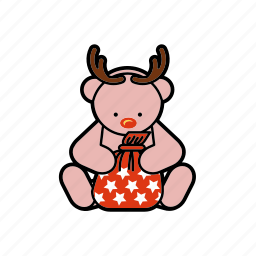 bag, christmas, decoration, deer, rudolf, teddybear icon