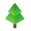 isometric, star, tree, green, decorated, holiday, christmas