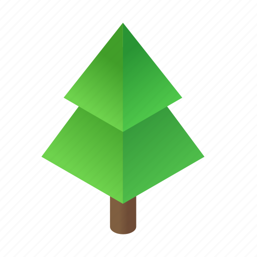 christmas, decorated, green, holiday, isometric, star, tree icon