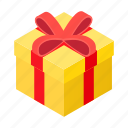 christmas, decoration, gift, holiday, isometric, present, yellow icon